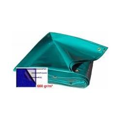 BACHE VERT PVC650GR/M² CONFECTIONNEE AVEC OEILLETS TOUS LES 50CM D:10M/15M